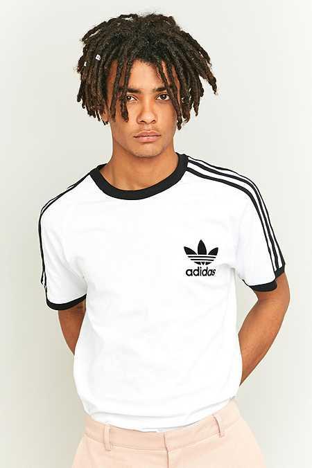 adidas Originals - T-shirt California à 3 bandes blanc