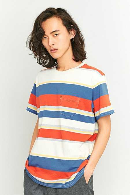 Levi's - T-shirt à poche rayé ivoire