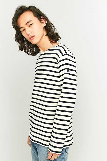 Armor Lux Fairtrade White and Navy Striped Long Sleeve T-shirt