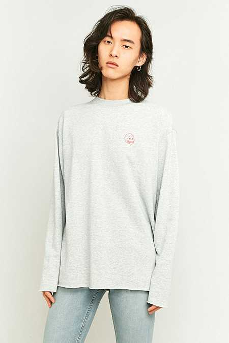 Cheap Monday Victory Grey Skull Patch Long Sleeve T-shirt
