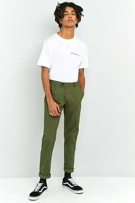 Farah - Pantalon chino Whiteley à pinces en sergé vert