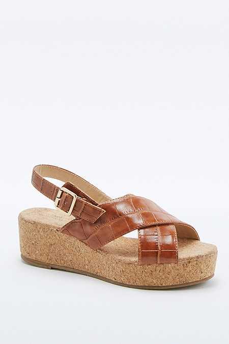 Chaussures compensées Careen fauve à brides croisées