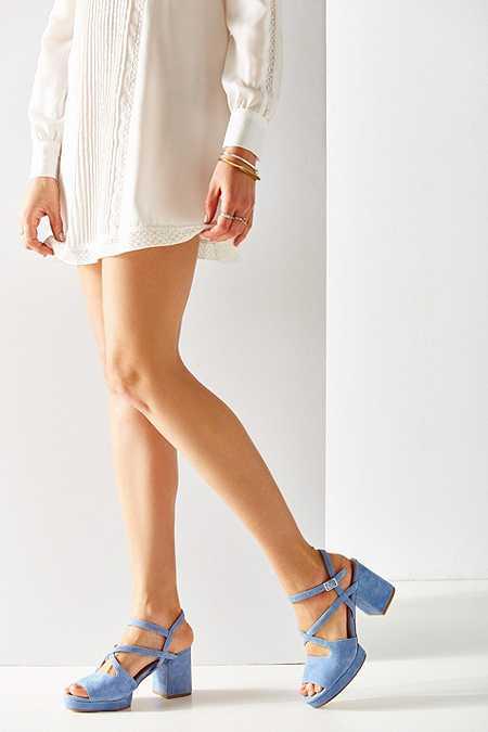 Gina - Chaussures à brides en daim bleu