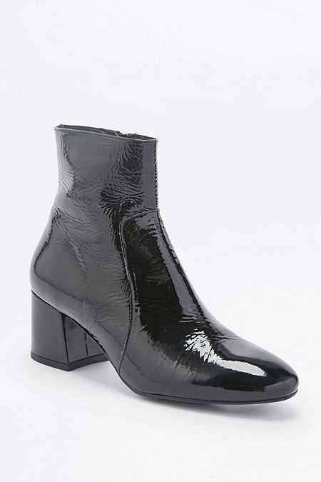 Poppy Black Patent Leather Ankle Boots