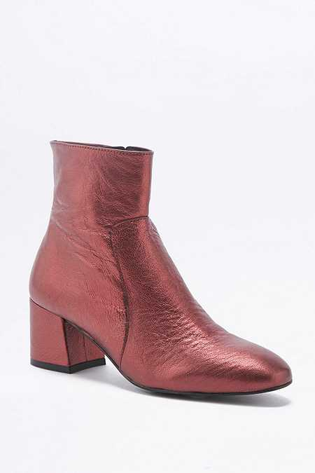 Poppy Metallic Red Leather Ankle Boots