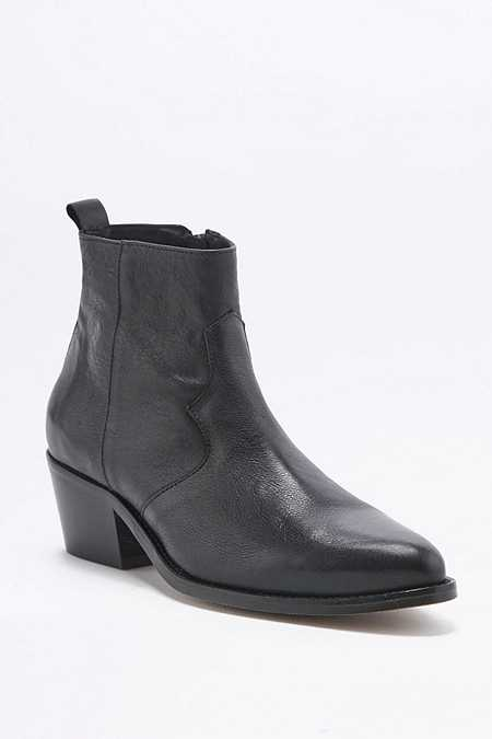 Polly Black Leather Western Ankle Boots