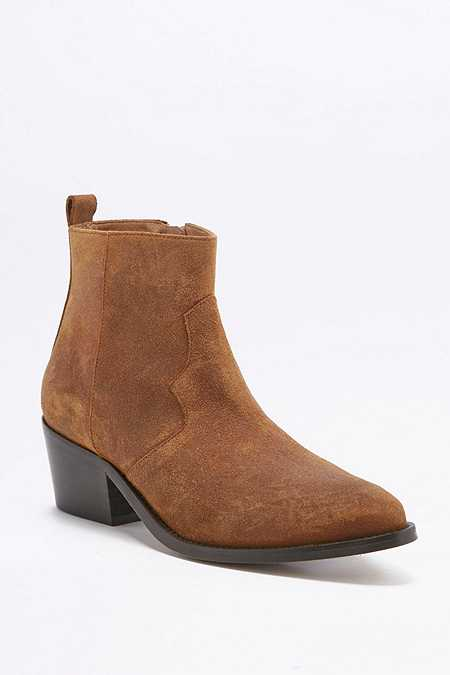 Polly Tan Suede Western Ankle Boots