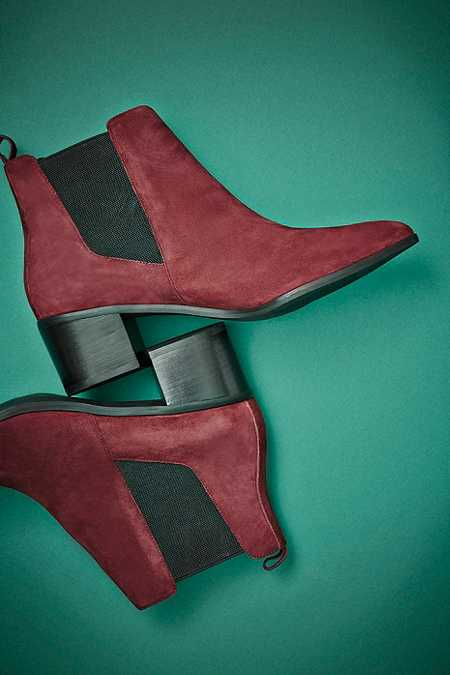 Bottines Percy pointues en daim bordeaux