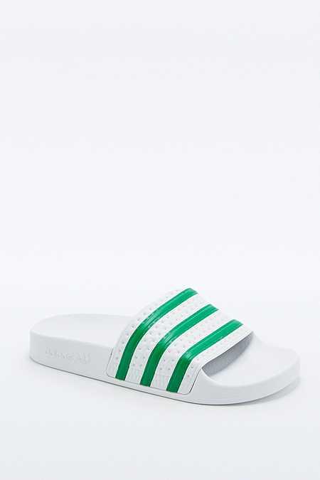 adidas Originals - Claquettes Adilette blanc/vert rayées