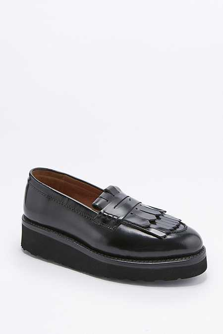 Grenson Juno Black Fringe Shoes