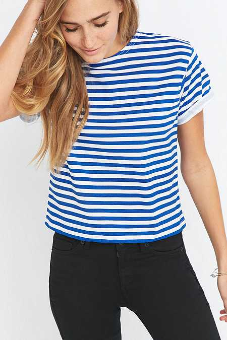 Urban Renewal Vintage Customised Cropped Blue Striped T-shirt