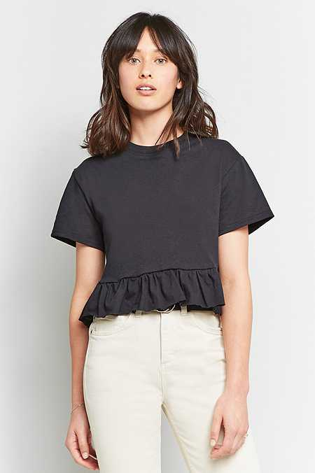 Urban Renewal Vintage Re-Made Ruffle Hem T-Shirt