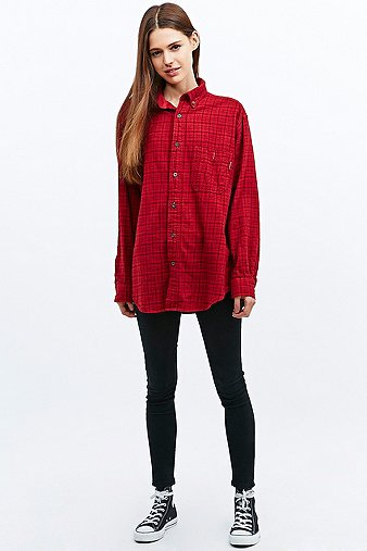 Vintage Renewal Oversized Flannel Shirt In Tartan Urban