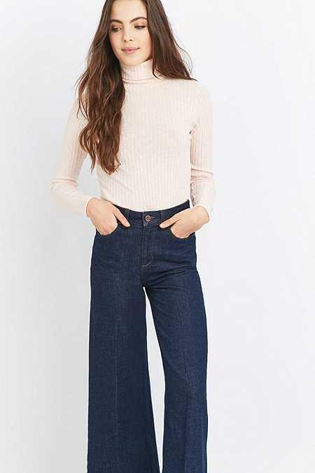 Urban Renewal Vintage Remnants Peach Marled Ribbed Turtleneck Jumper