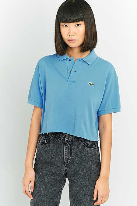Urban Renewal Vintage Customised Raw Cut Branded Blue Polo Shirt