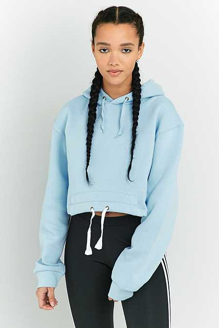 Urban Renewal Vintage Customised Plain Light Blue Drawstring Hem Hoodie