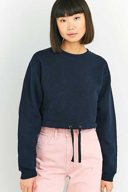 Urban Renewal Vintage Customised Blue Drawstring Hem Cropped Sweatshirt