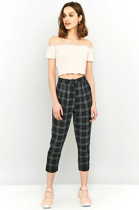 Urban Renewal Vintage Re-Made Dark Grey Check Trousers
