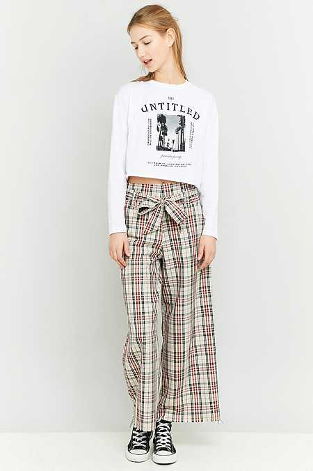 Urban Renewal Vintage Remnants High Waisted Checked Beige Trousers