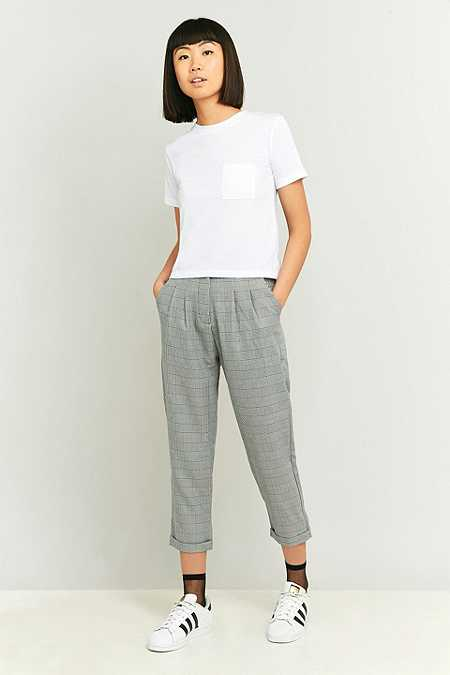 Urban Renewal Vintage Remnants Black and White Checked Trousers
