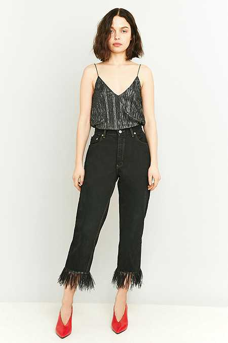 Urban Renewal Vintage Remnants Black Feather Trim Straight-Leg Jeans