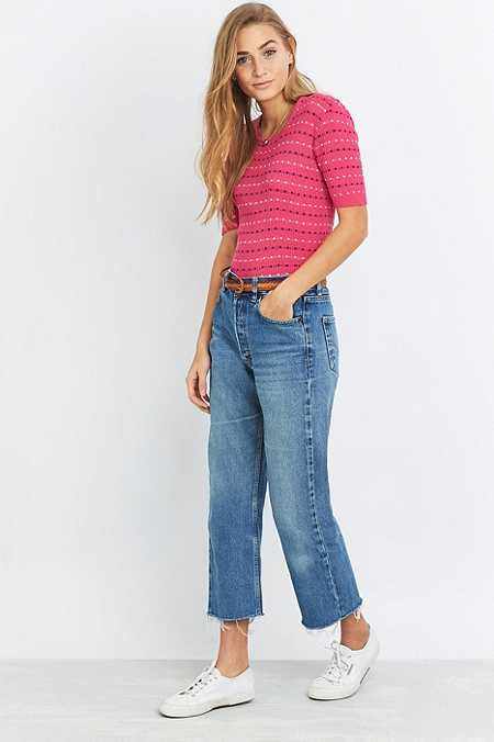Urban Renewal Vintage Customised Levi's 501 Light Wash Cropped Jeans