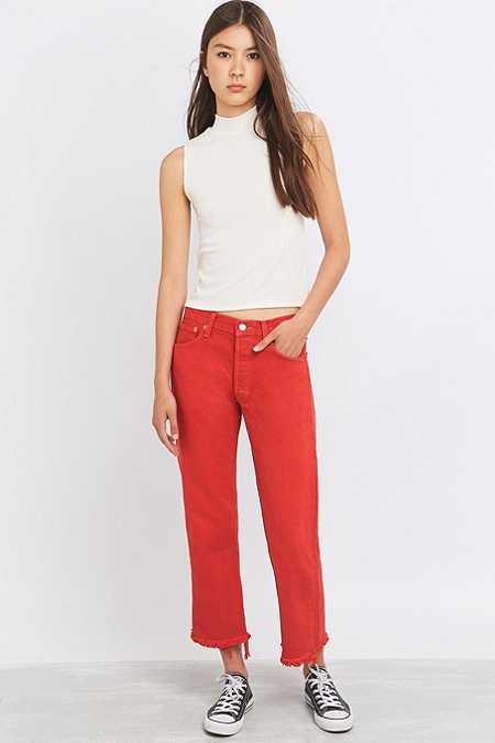 Urban Renewal Vintage Customised Levi's 501 Overdyed Red Cropped Jeans