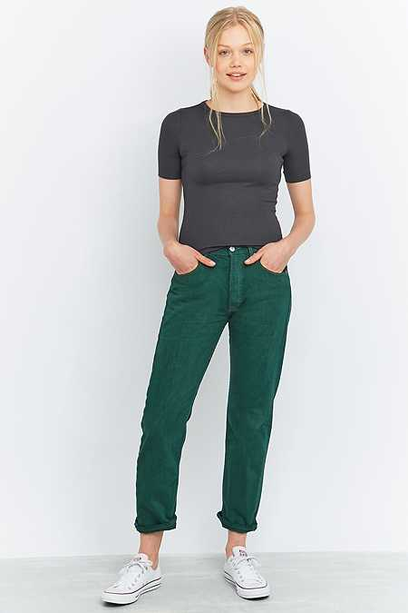 Urban Renewal Vintage Customised Overdyed Forest Green Levi's 501 Jeans
