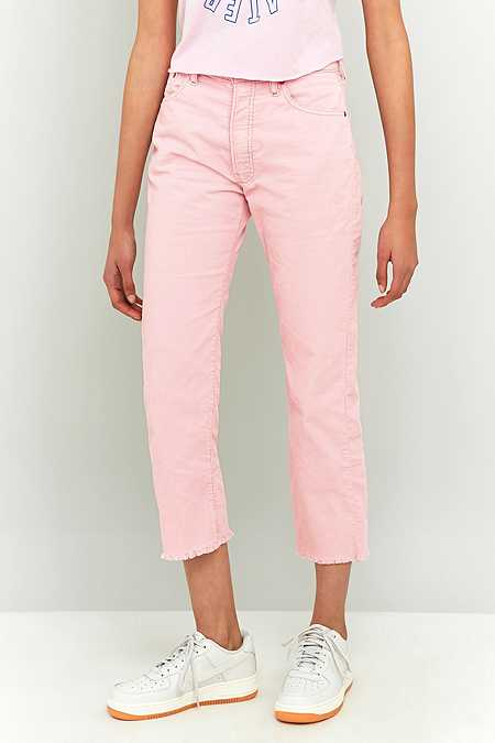 Urban Renewal Vintage Customised Levi's Pink Cropped Corduroy Jeans