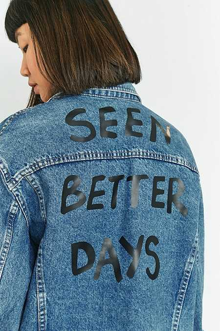 Urban Renewal Vintage Customised Printed Back Denim Trucker Jacket