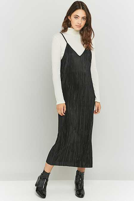 Urban Renewal Vintage Remnants Black Pleated Midi Slip Dress