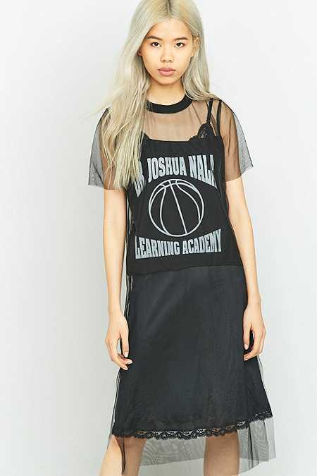 Urban Renewal Vintage Remnants Applique Black Mesh Midi Dress