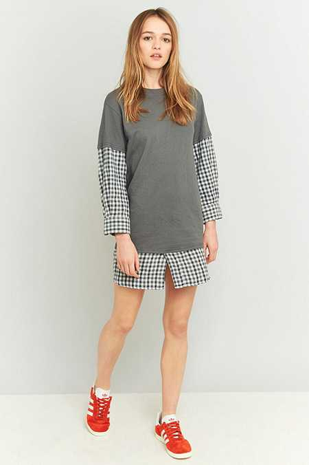 Urban Renewal Vintage Customised Grey Flannel T-shirt Dress