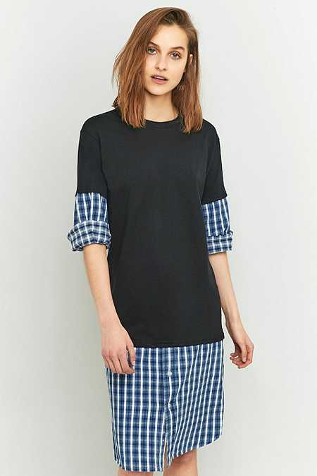 Urban Renewal Vintage Customised Black Flannel Midi T-shirt Dress