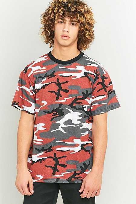 Urban Renewal Vintage Surplus - T-shirt rouge Burnt camouflage