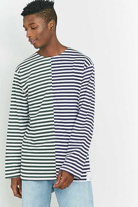 Urban Renewal Vintage Customised - T-shirt marinière à manches longues bleu marine et olive