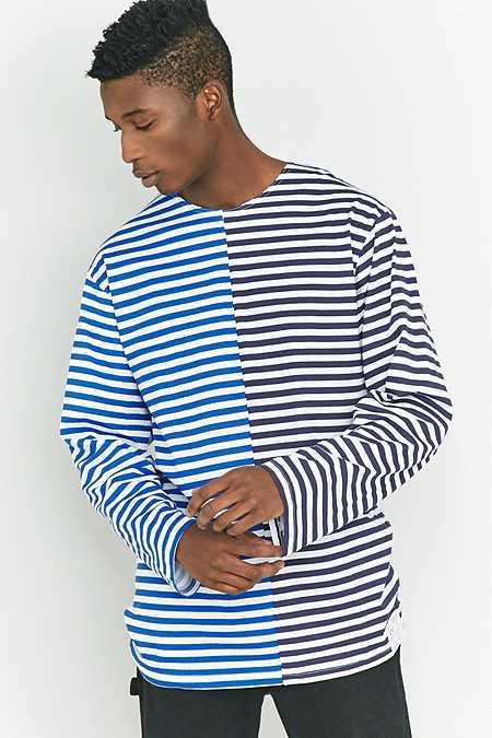 Urban Renewal Vintage Customised - T-shirt marinière à manches longues bleu marine et bleu