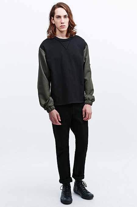 Urban Renewal Deep Eddy's Loopback MA1 Arm Sweatshirt in Black