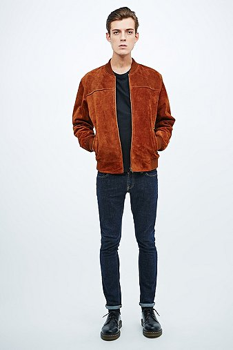 Urban Renewal Vintage Remnants Suede Bomber Jacket in Tan - Urban