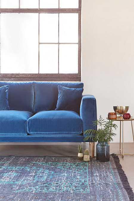 Harley 2-Seater Blue Velvet Sofa
