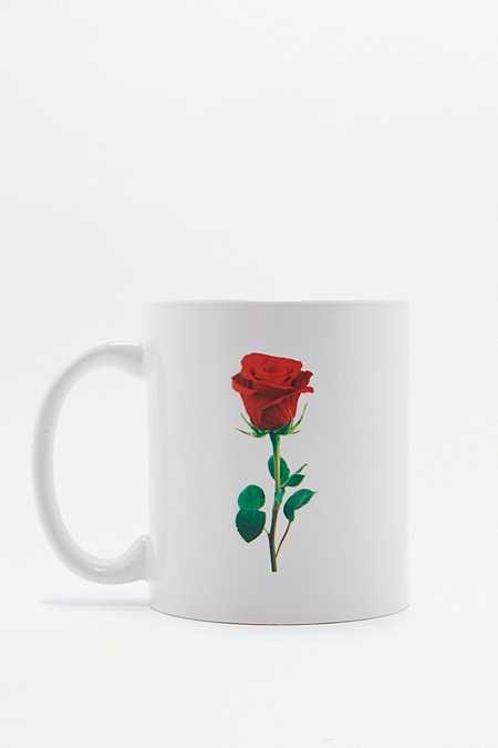 Tasse blanche motif rose