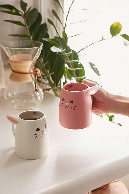 Ensemble de tasses lapin rose et blanche