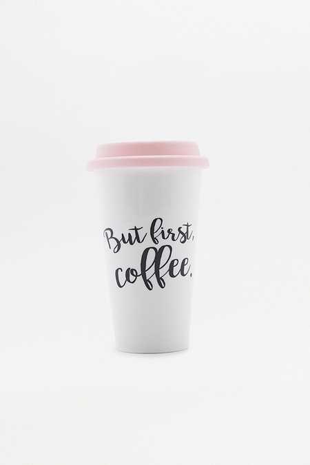 Tasse de voyage « But First Coffee »