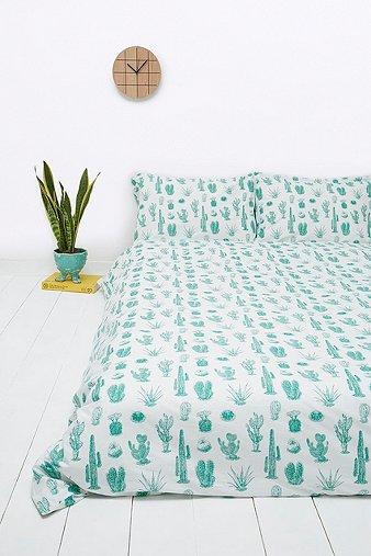 cactus print duvet set urban outfitters. Black Bedroom Furniture Sets. Home Design Ideas