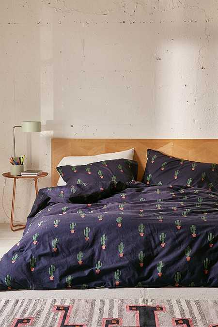 Housse de couette et taies d'oreillers motif cactus bleues