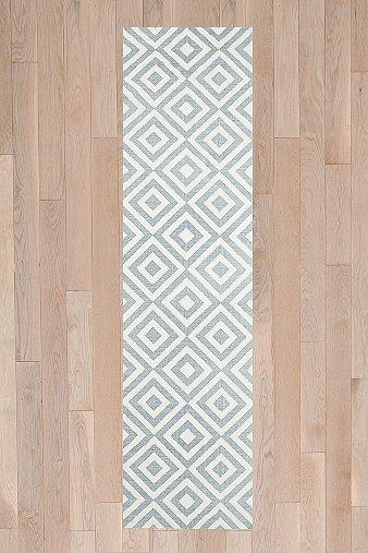 Teppich mit Diamantmuster in Grau, 2 x 8 Fuß  Urban