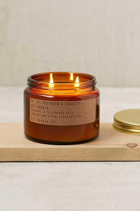 P.F. Candle Co. - Bougie en pot à double mèche parfum teck et tabac
