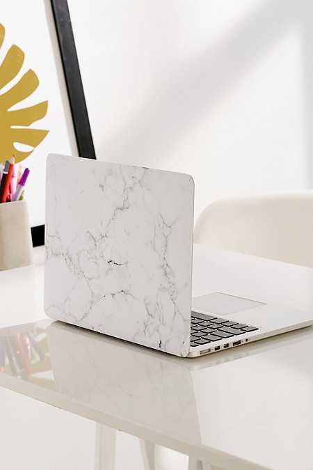 Autocollant Pro Skin en vinyle marbré blanc pour MacBook