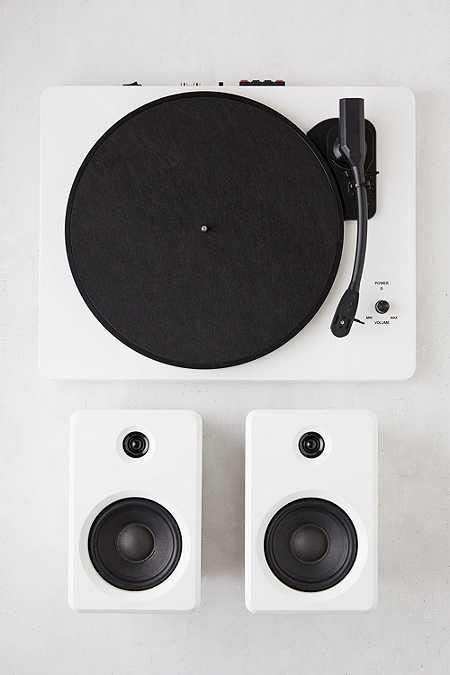 EP-33 - Tourne-disque bluetooth blanc avec enceintes
