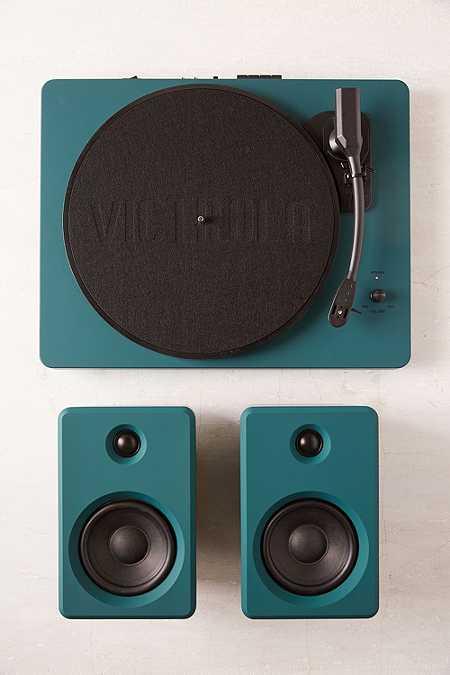 EP-33 - Tourne-dique bluetooth vert foncé avec enceintes